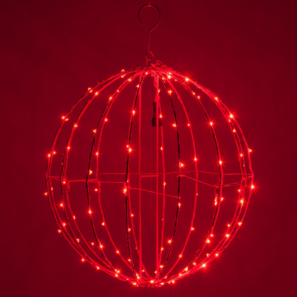 Red Led Fairy Christmas Light Ball Fold Flat Red Frame