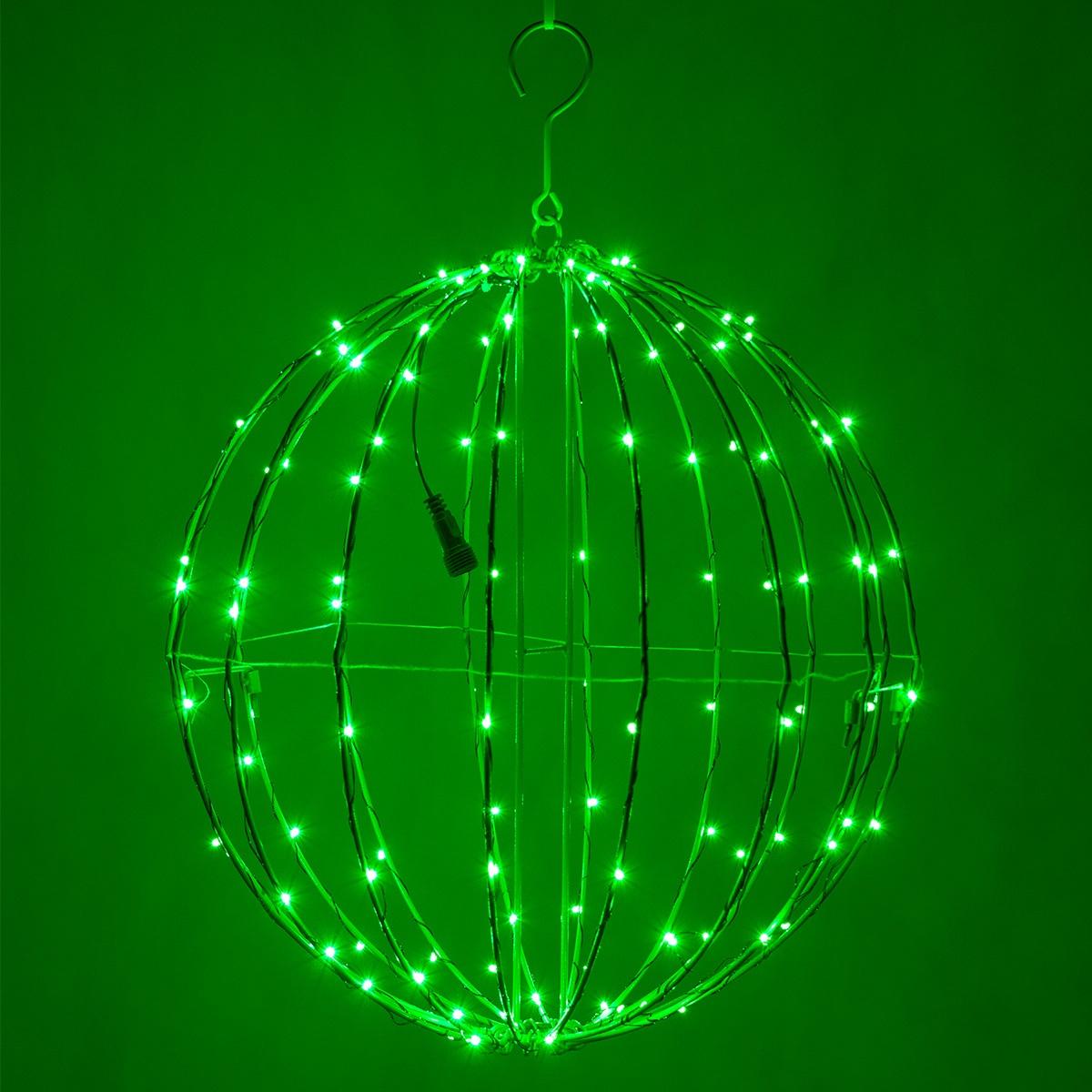 Green led fairy christmas light ball fold flat frame