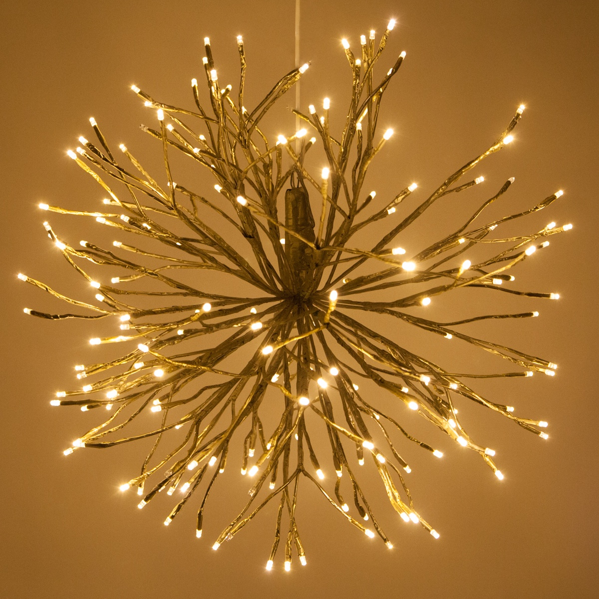 Gold starburst lighted branches with warm white led for White twinkle christmas lights