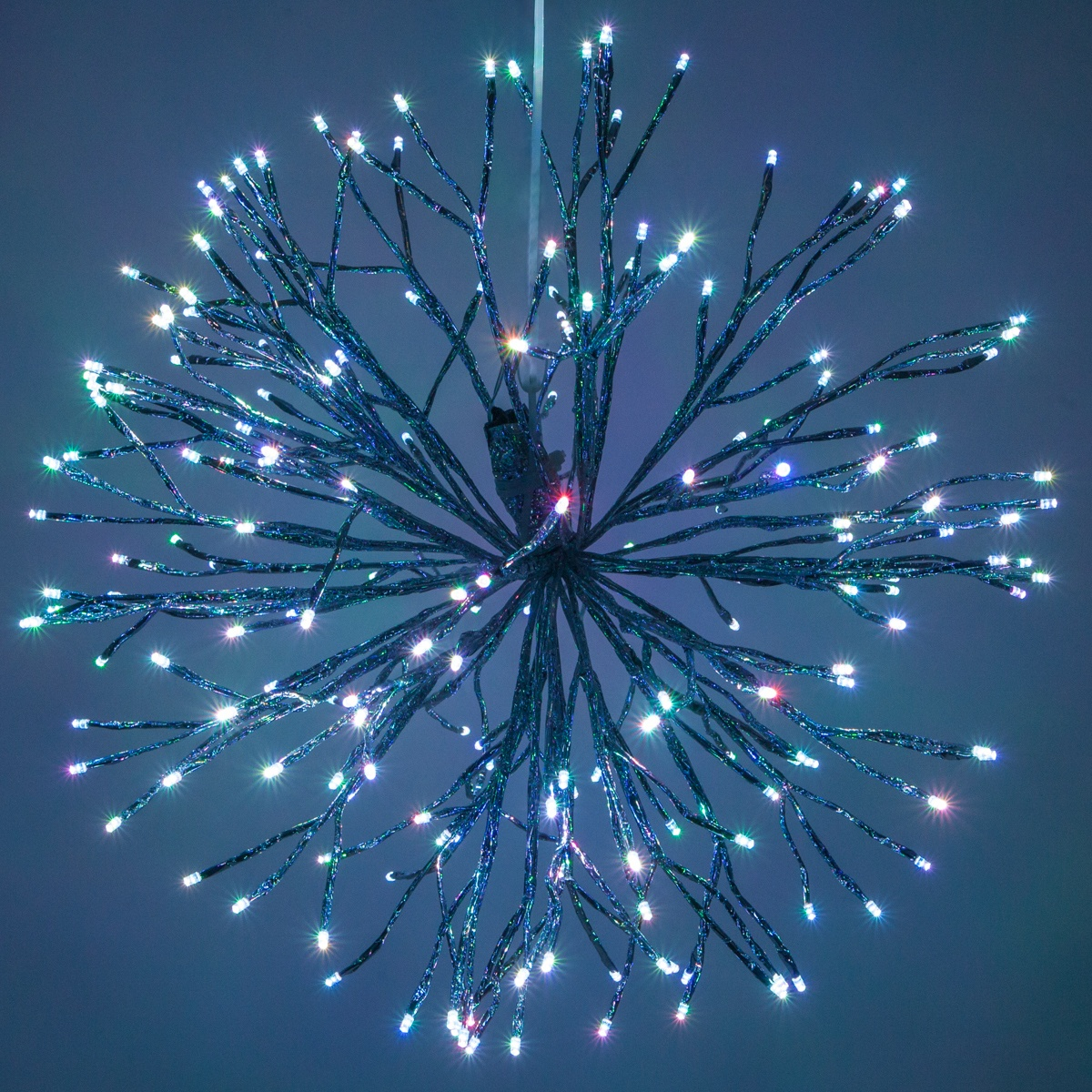 Silver Starburst Lighted Branches With Rgb Led Lights 1 Pc