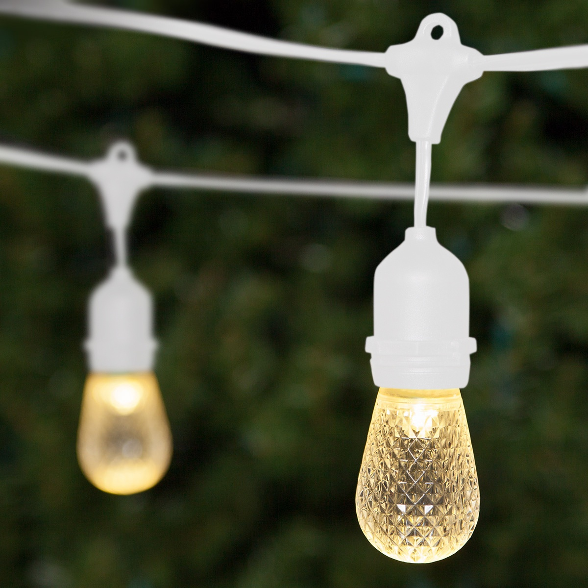Outdoor String Lights White: Commercial Warm White LED Patio String
