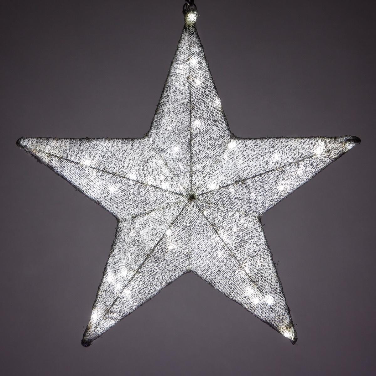 Snowflakes Amp Stars 36 Quot Silver Metallic Mesh Star Light
