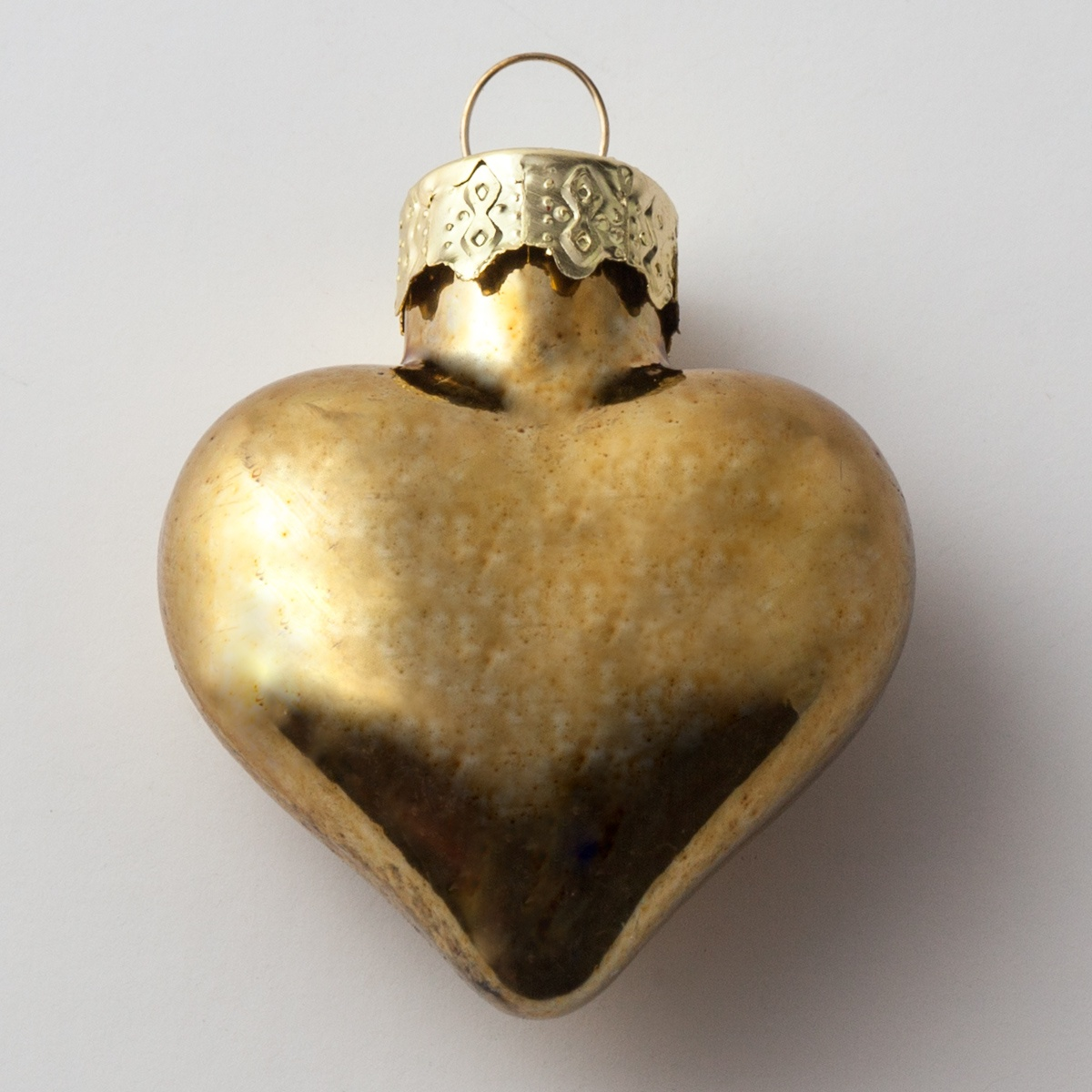Gold Glass Heart Christmas Ornament