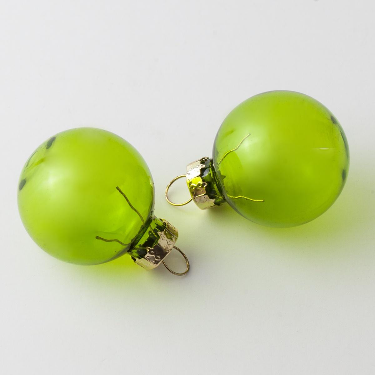 Clear Green Glass Ball Christmas Ornament