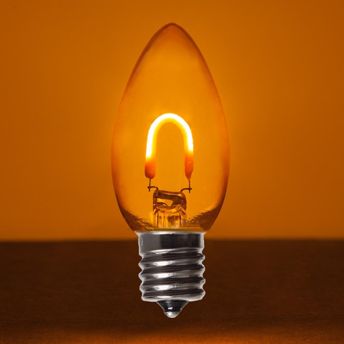 C9 Amber Orange Glass Flexfilament Tm Led Vintage