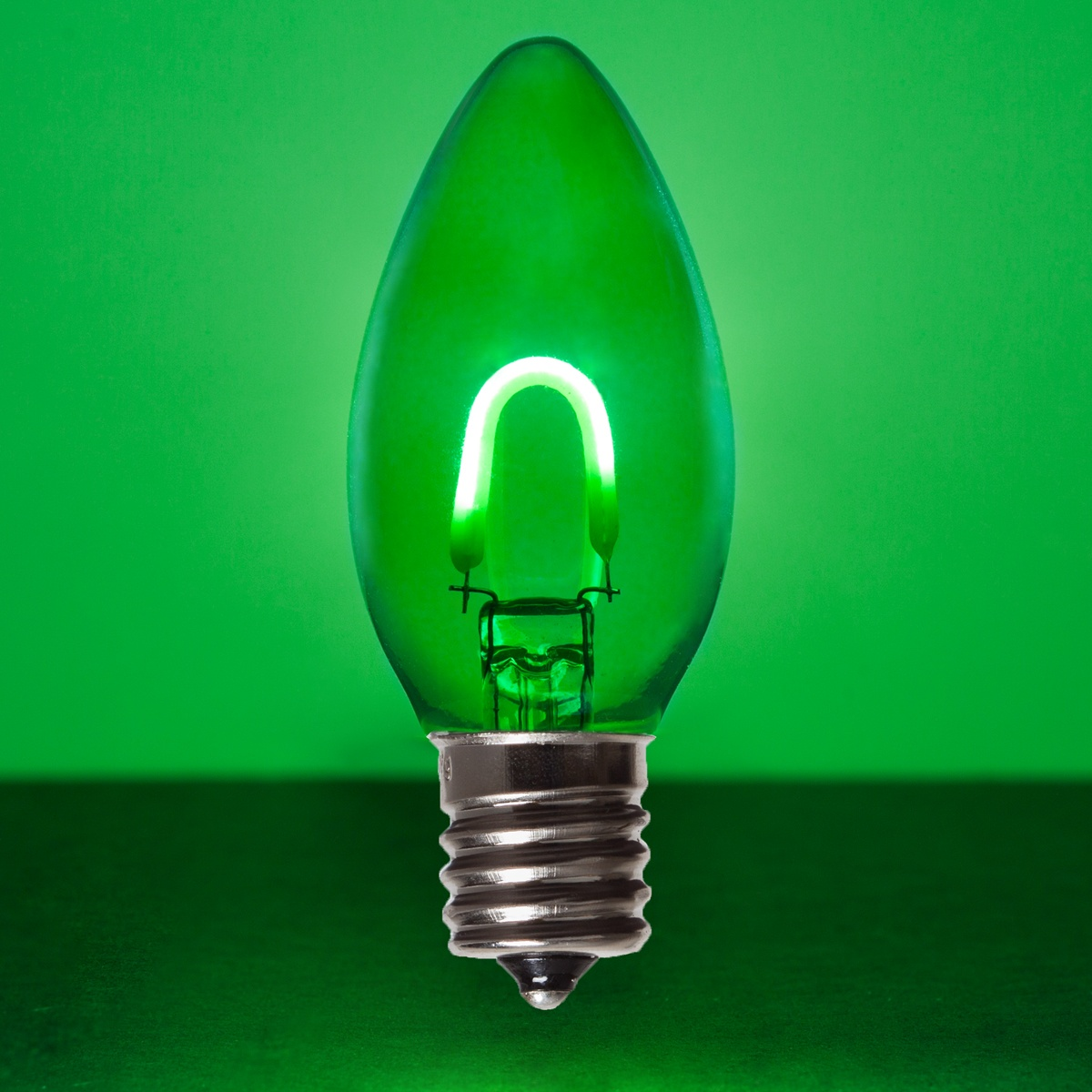 C9 Green Glass Flexfilament Tm Led Vintage Christmas Light