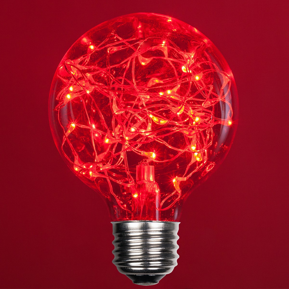 G80 Red Ledimagine Tm Fairy Light Bulb