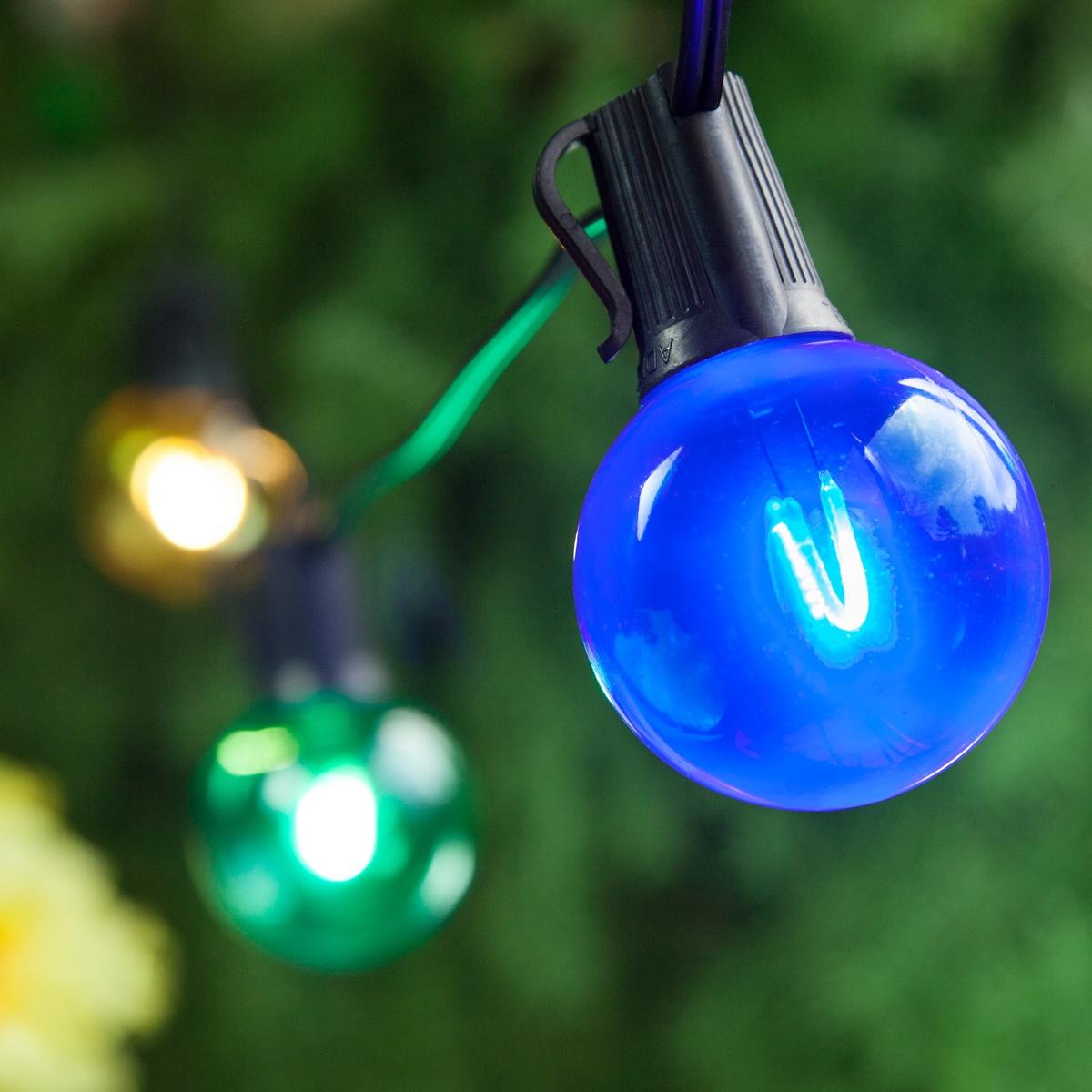 patio lights multicolor led party lights 50 g50 e17 bulbs black wire. Black Bedroom Furniture Sets. Home Design Ideas
