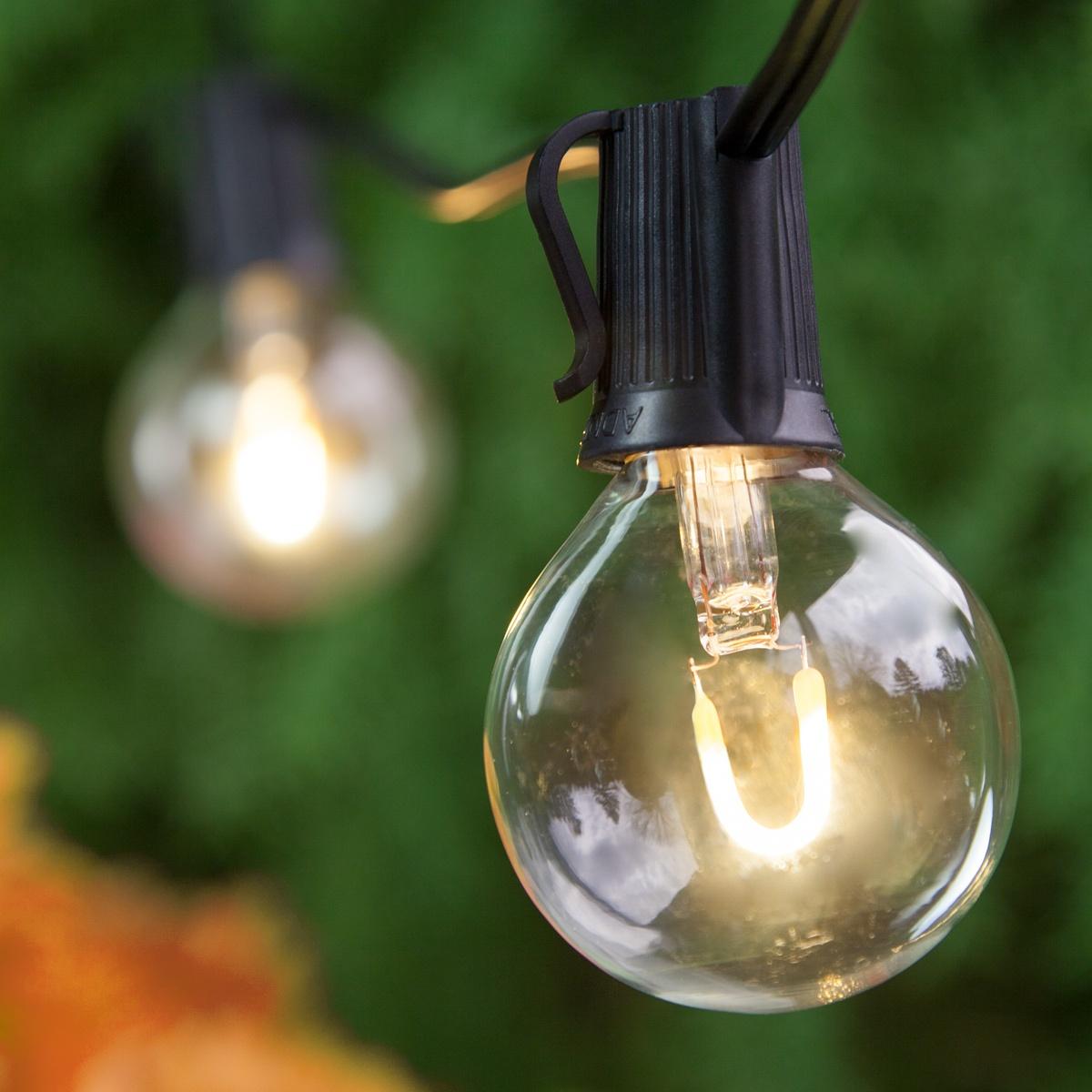 Patio Lights - Warm White LED Lights, 25 G50 E12 Bulbs ...