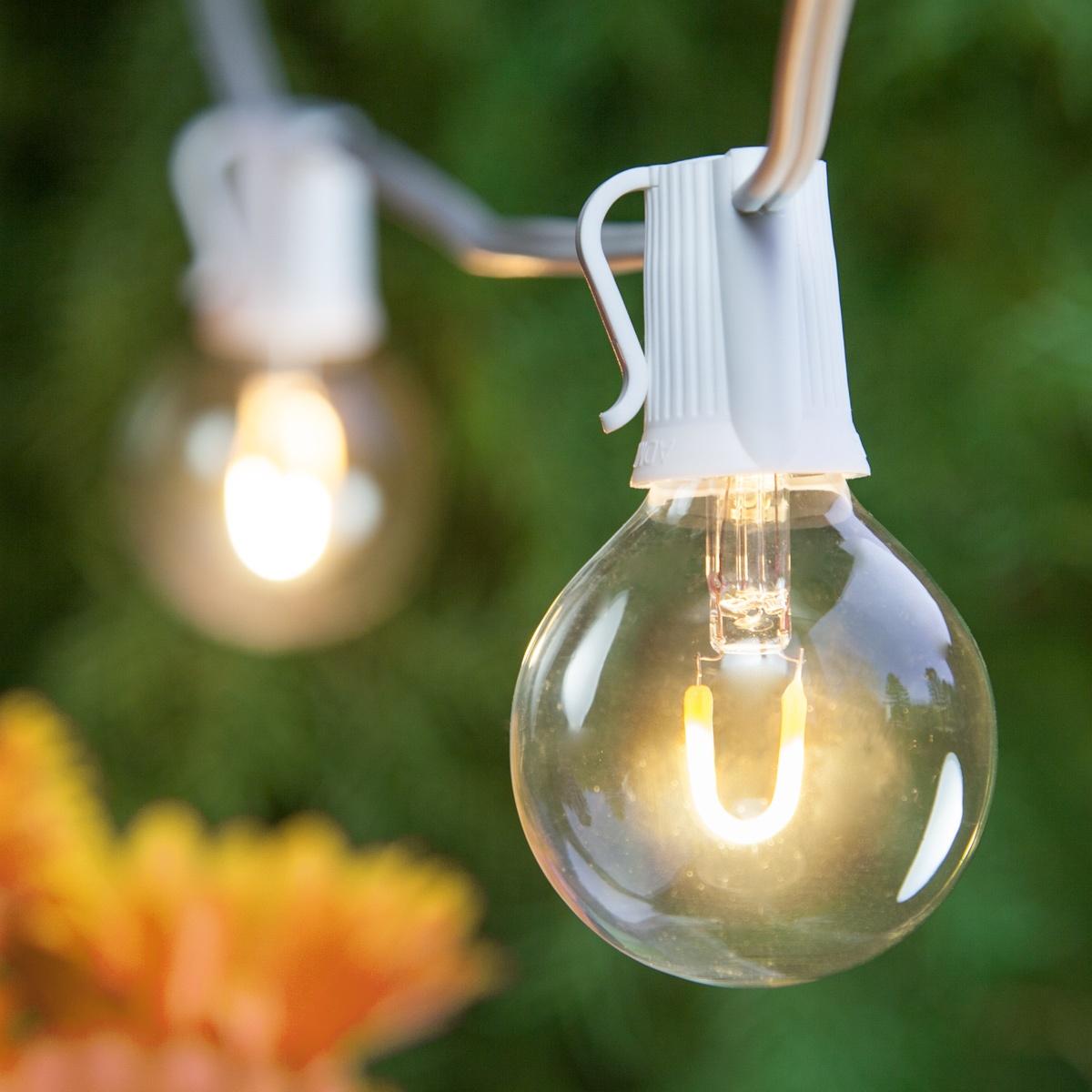 Patio Lights - Warm White LED Lights, 50 G50 E17 Bulbs ...