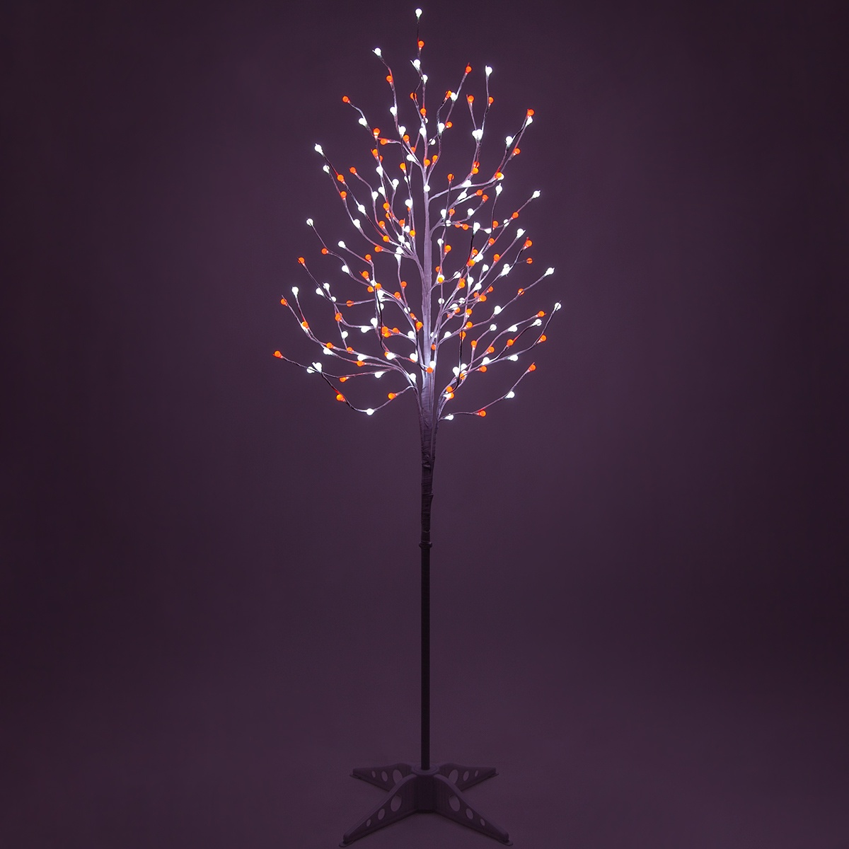 White LED Tree With Red-Cool White Mini Globe Lights