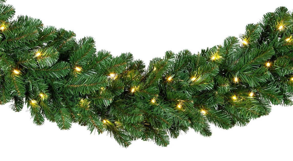 Lighted Christmas Garland - Oregon Fir Prelit Commercial ...