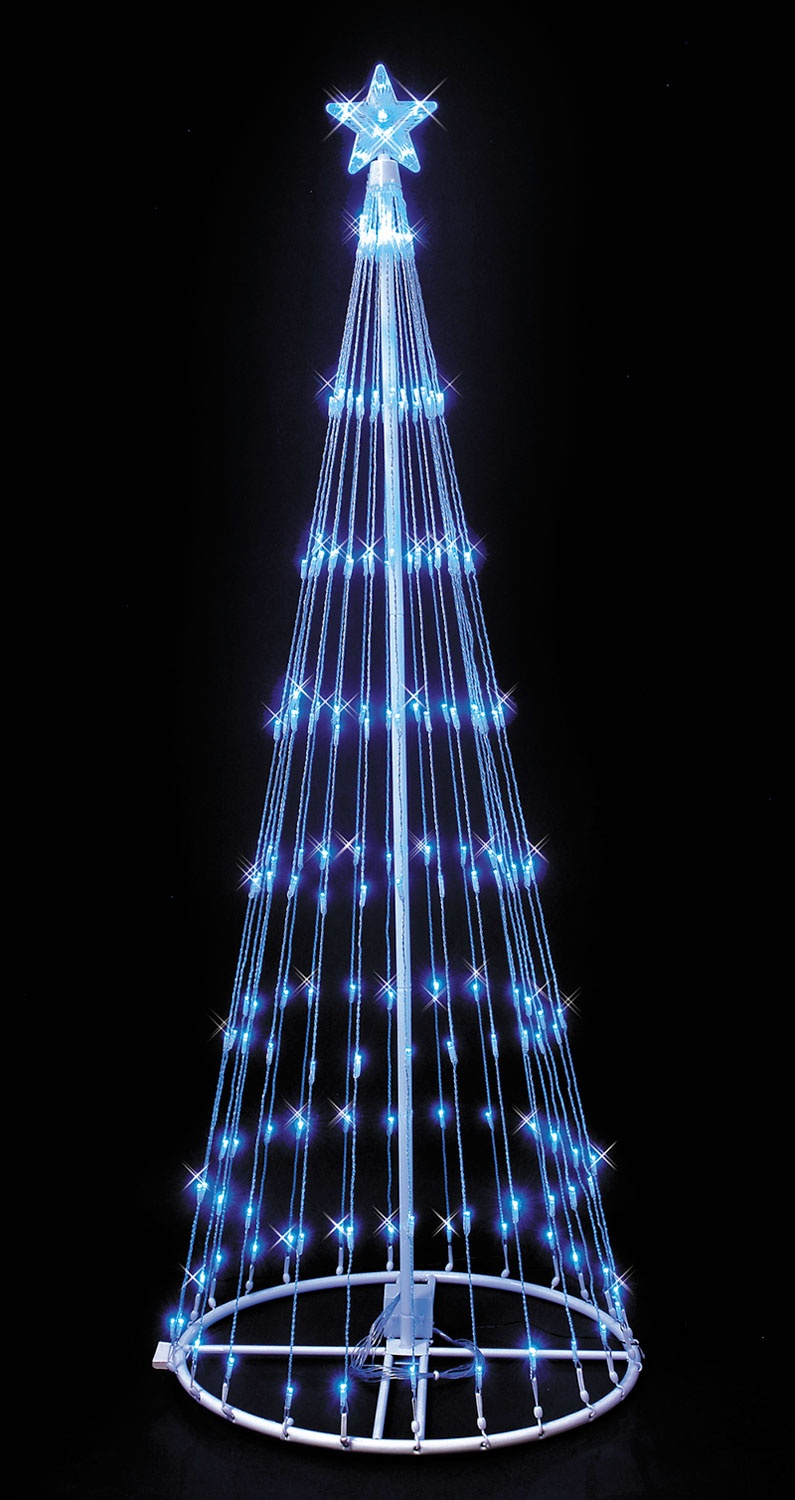 Blue led lightshow tree aloadofball