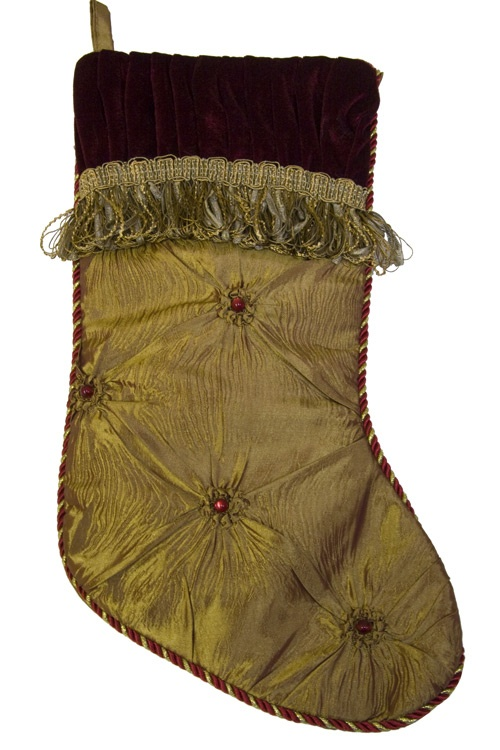 Christmas Stockings Gold Stocking With Beads And Velvet Trim