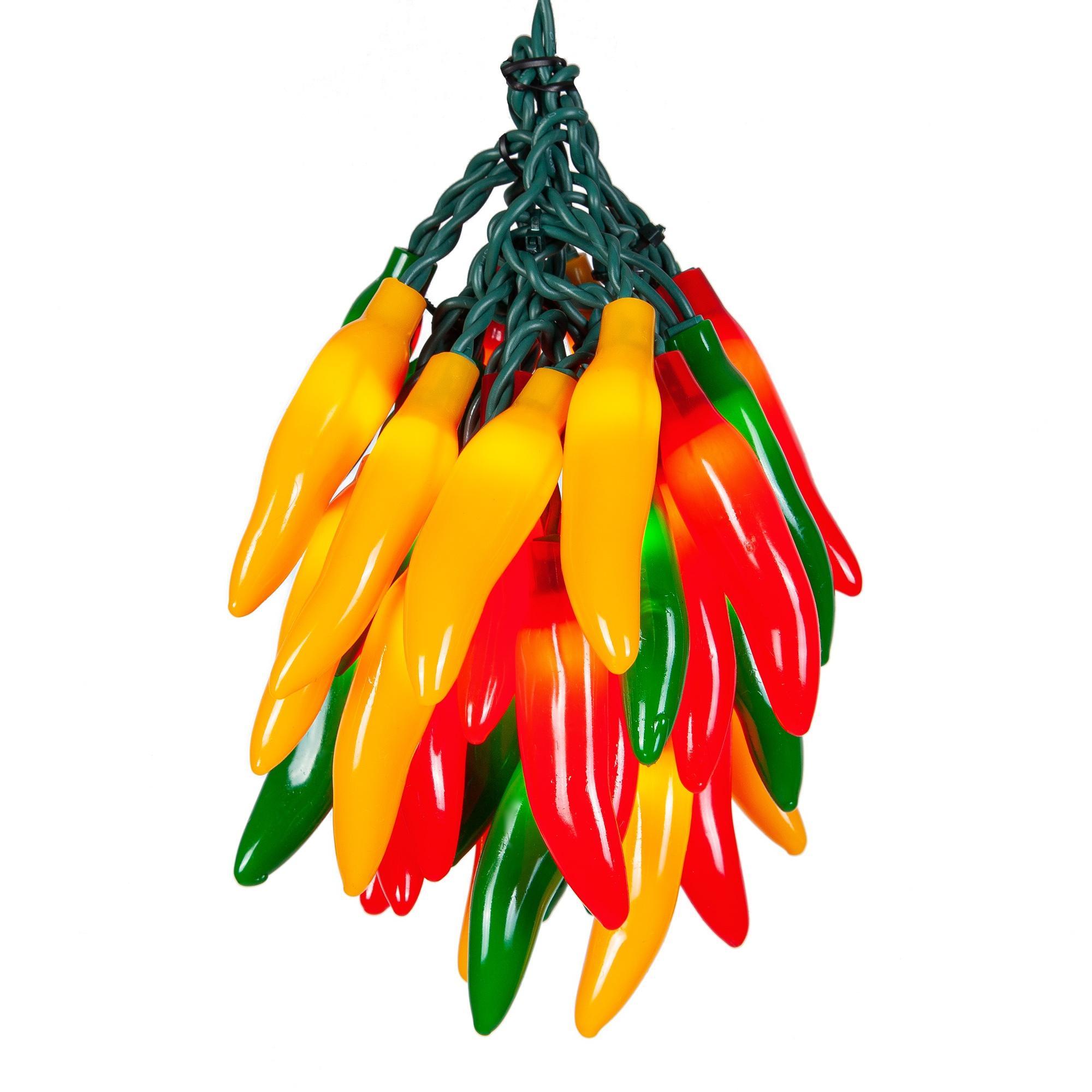 Novelty Lights - Chili Pepper Cluster Light Set, 35 ...