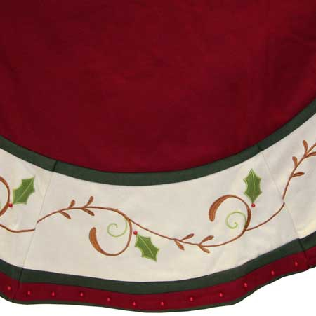 56 Burgundy Tree Skirt With Holly Trim