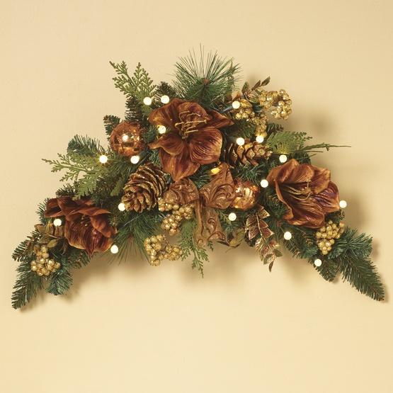 Gilded Prelit Led Swag Christmas Garland Warm White Lights