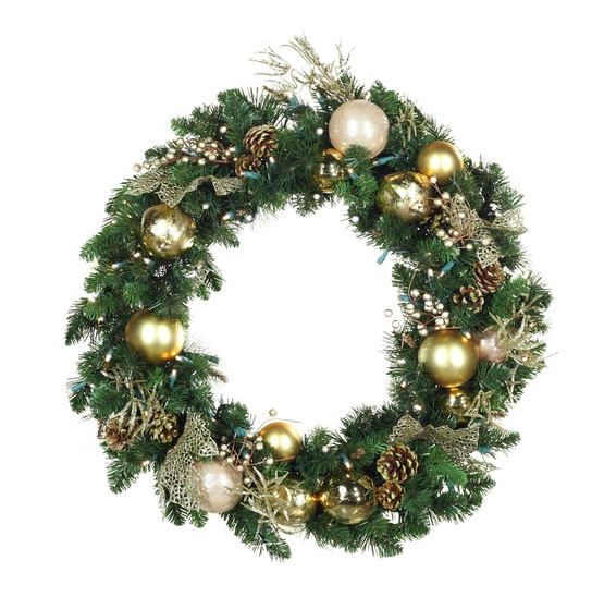 Decorative Wreaths - Royal Gold Battery Operated LED Wreath, Warm ...