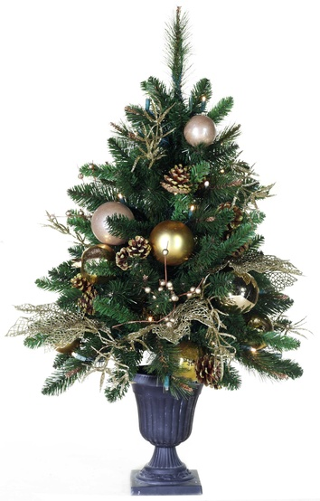 3 royal gold battery operated table top potted tree - Battery Operated Christmas Decorations