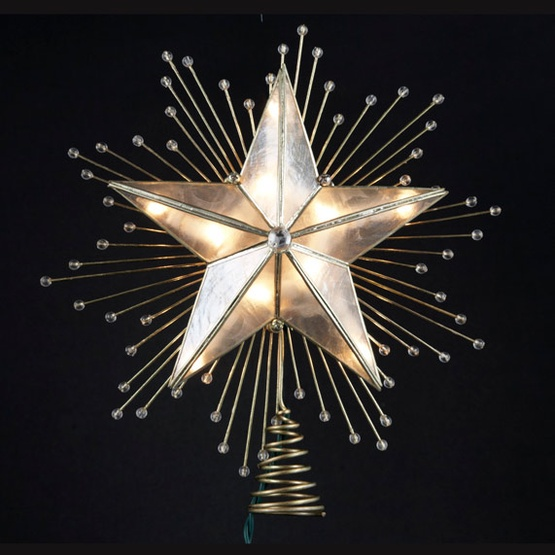 Christmas Decorations 10 Lighted Capiz Star Tree Topper In Brass Finish
