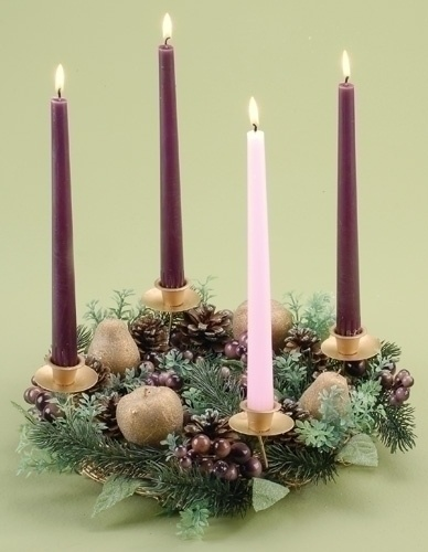 christmas candle holders 14 quot  purple berry advent candle  wedding centerpiece with led lights