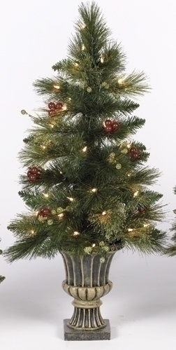 Artificial Christmas Trees - 3' Bedford Topiary Prelit Potted Tree with Clear Lights