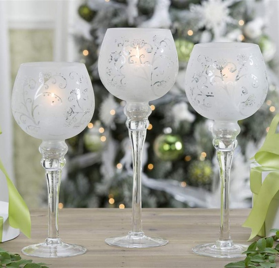 Christmas Candle Holders Frosted White Glass Hurricane