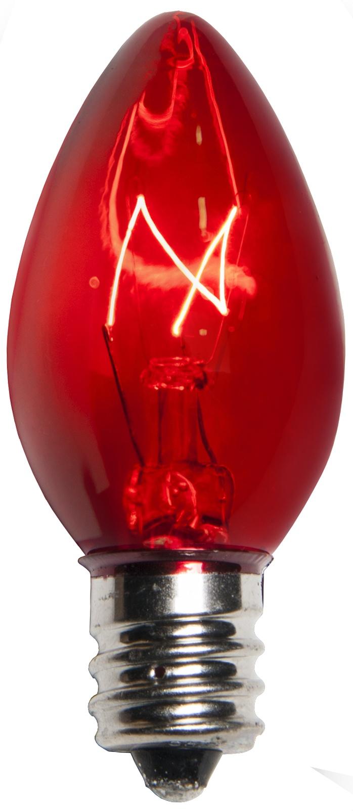 Box of 25 C7 Red Triple Dipped Transparent Christmas Bulbs 5 Watt