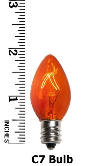 C7 Twinkle Amber / Orange Christmas Light Bulbs, 7 Watt - C7 Christmas Light Bulb - C7 Twinkle Amber / Orange Christmas Light