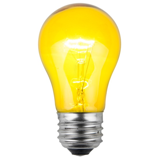E26 Party And Sign Bulbs A15 Transparent Yellow 15 Watt