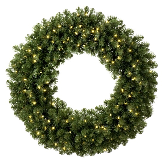 Sequoia Fir Prelit Commercial Christmas Wreath Clear Lights