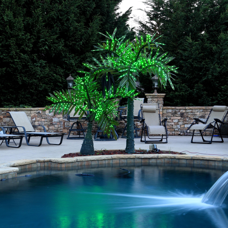 12u0027 LED Palm Tree   Natural Green