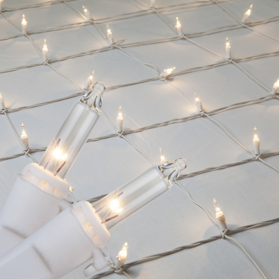 Christmas Net Lights - 4\' x 6\' Net Lights - 150 Clear Lamps - White Wire