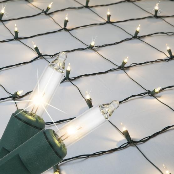 Christmas Net Lights - 4\' x 6\' Twinkle Net Lights - 150 Clear Lamps ...