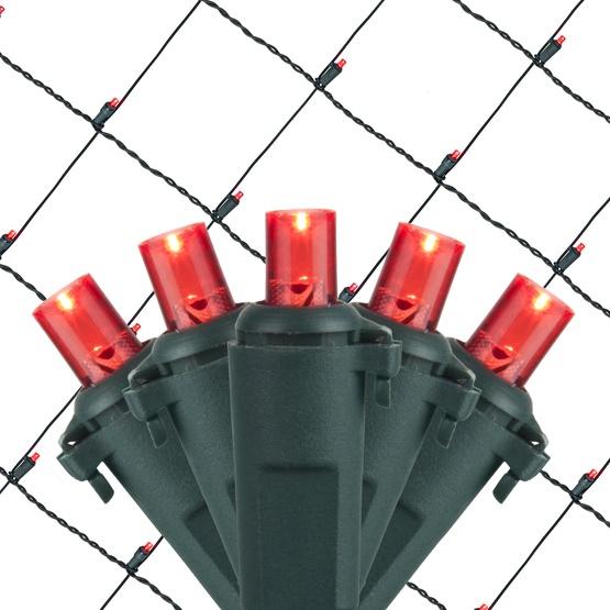 LED Net Lights - 5MM 4'x6' Red LED Net Lights, Green Wire