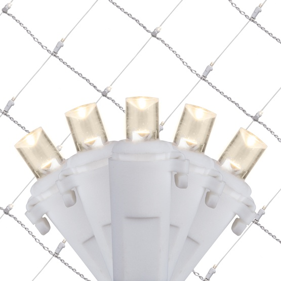 LED Net Lights - 5MM 4\'x6\' Warm White LED Net Lights, White Wire