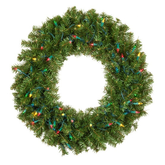 douglas fir prelit artificial christmas wreath multicolor lights - Artificial Christmas Wreaths Decorated