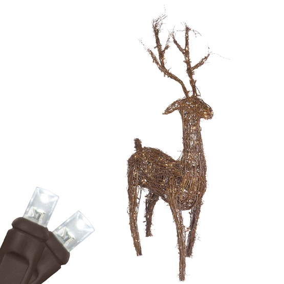 """Outdoor Christmas Decorations - 48"""" Grapevine Standing Reindeer, Cool White LED Outdoor Yard Decoration"""