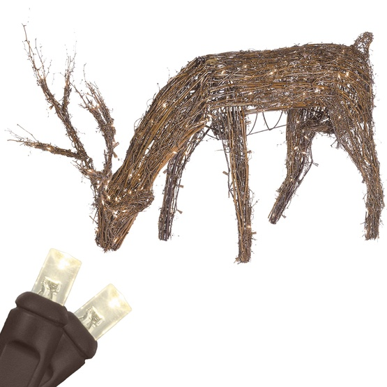 48 grapevine reindeer with head down led outdoor yard decoration - Outdoor Deer Christmas Decorations