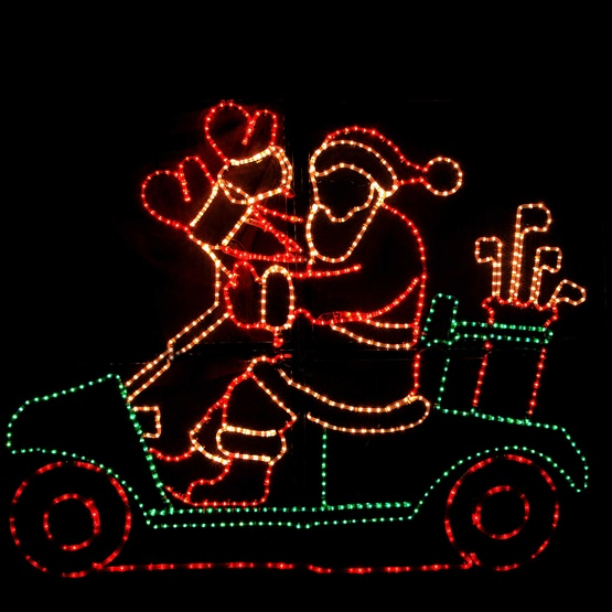 waving santa with golf cart and controller - Golf Cart Christmas Decorations