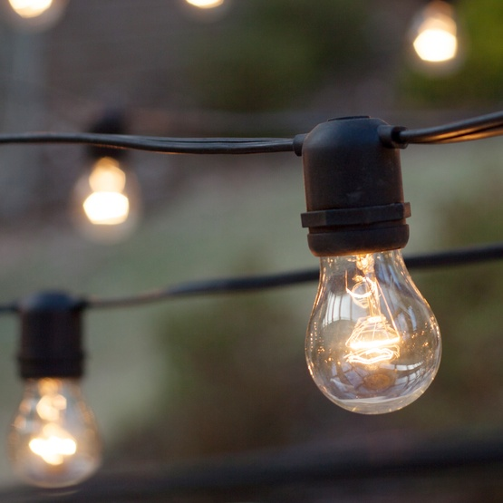 Outdoor String Lights Large Bulbs : Patio Lights - Commercial Clear Patio String Lights, 50 A15 E26 Bulbs Black Wire