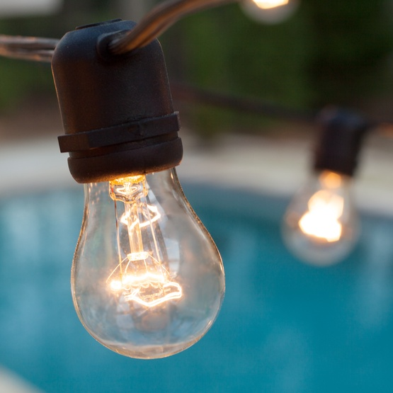 String Lights E26 : Patio Lights - Commercial Clear Patio String Lights, 24 A15 E26 Bulbs Black Wire
