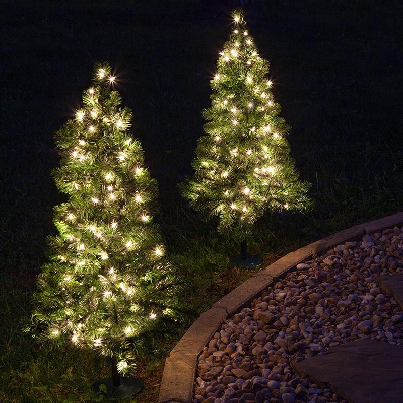 Outdoor Decorations - 2' Walkway Pre-Lit Winchester Fir Tree, 50 ...