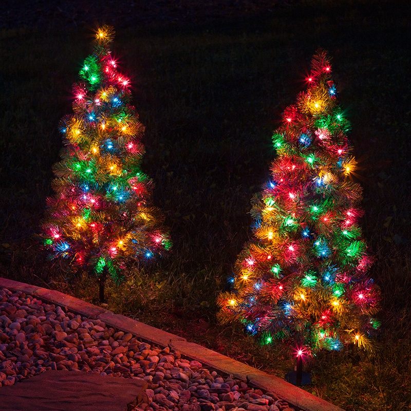 Outdoor Decorations - 3' Walkway Pre-Lit Winchester Fir Tree, 100 Multicolored Lamps