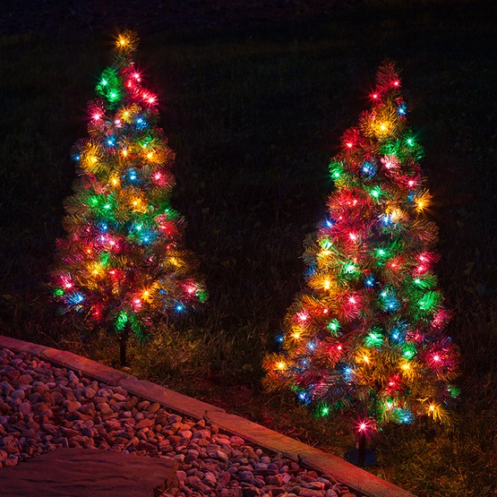 3 walkway pre lit winchester fir tree 100 multicolored lamps - Pre Lit Outdoor Christmas Tree