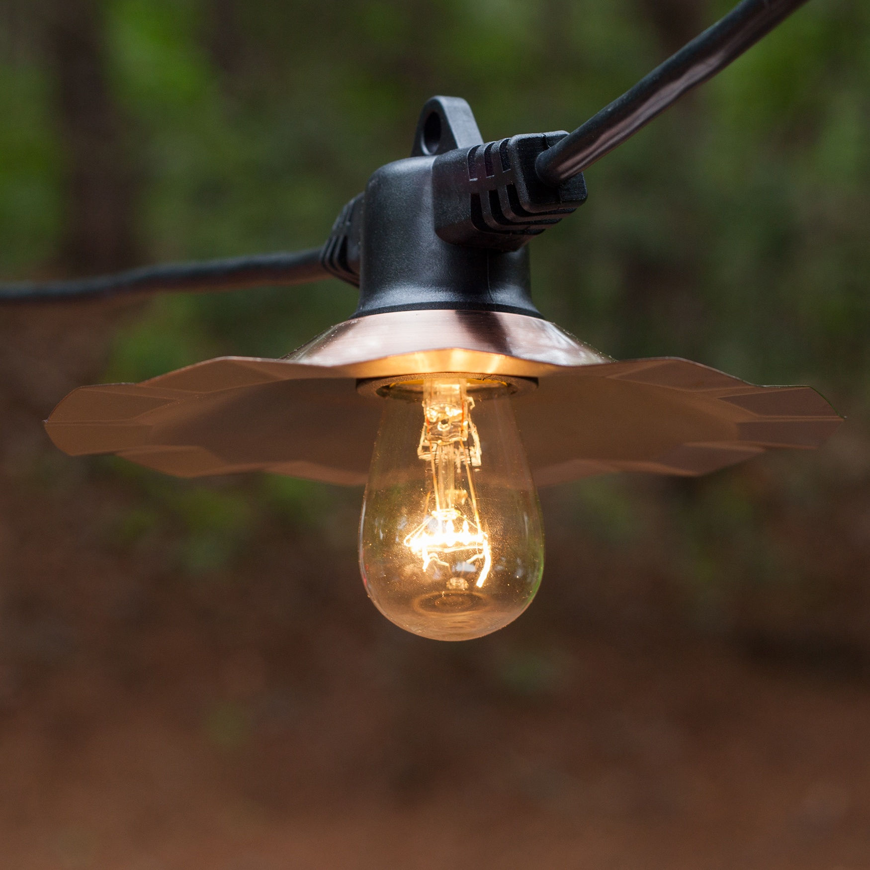 35u0027 Patio String With Copper Shades And S14 Clear Outdoor Patio Lights