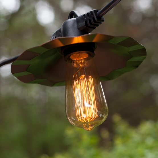 35 Patio String With Copper Shades And Vintage Outdoor Lights