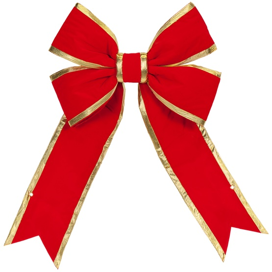 Red With Gold Trim Structural 3d Velvet Christmas Bow