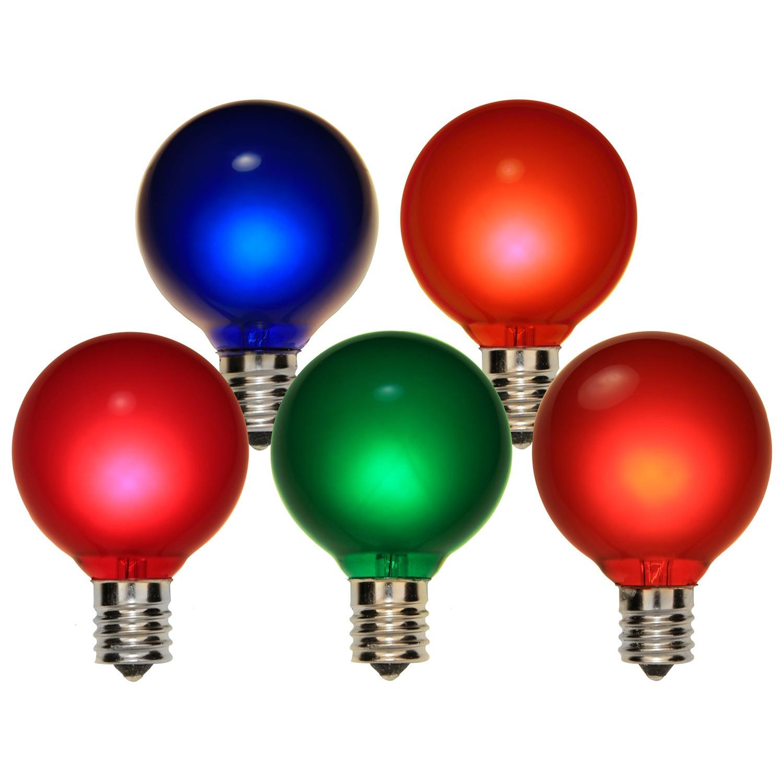 Christmas Lights G50 Satin Multicolor 7 Watt Replacement Bulbs