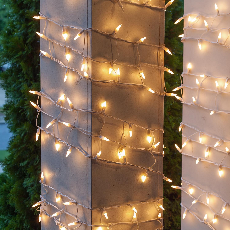 Christmas Net Lights - 6u0026quot; W x 15u0026#39; H Column Wrap - 150 White Frost Lights, White Wire